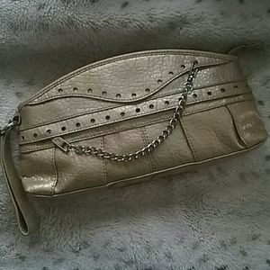 Jessica Simpson Gold Mock Croc Clutch Bag
